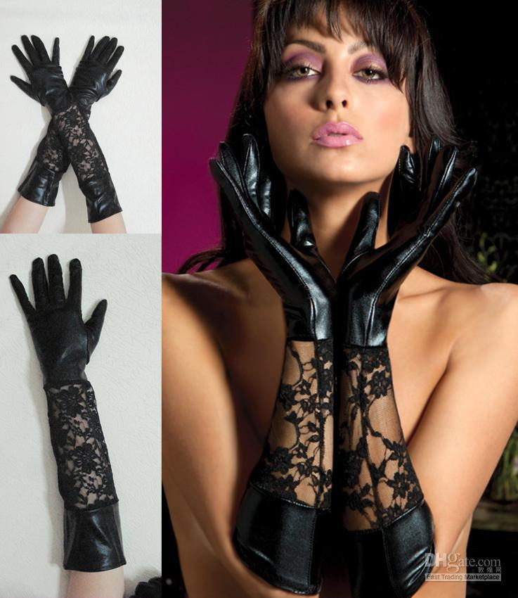 2017 Oprea Sexy Black Metallic Imitation Leather Gloves With Lace ...