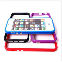 Wholesale Colorful TPU PC Frame Bumper for Apple IPhone G th with Metal Button Retail Package Blue Green