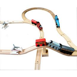 Wholesale 1 set DIY train track tracks orbit trains compatible wooden set track
