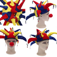 Wholesale Halloween Party Hats Clown Hats with Nose Multicolor Cap Halloween Costumes Halloween Party Props