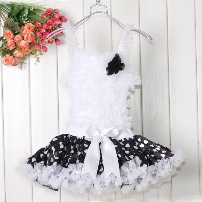 Buy Holidays Ball Gown Knee-Length Flowers Girl Dresses Black Dot Pettiskirt Kids Suspender Wear 1-6Y Baby Children Party Clothes TD20503-10