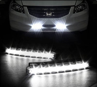 Wholesale A pair LEDS AUTO DRL W Universal White LED Daytime Running Light Fog DRL
