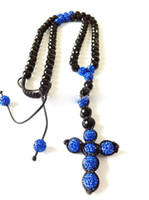 Unisex iced out jewelry - Blue Rosary Necklace Jewelry Cross Pendant Iced Out Chain Disco Ball sr08
