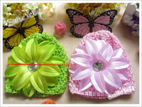 Wholesale 16pcs Baby Hair Sets Crochet Knit Beanie inch Lily Flower Fashion Girl s Hair Accessory Cap