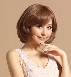 Wholesale The peach PCT silk wig the Japanese fashion air sense oblique fringe retro BOBO head short hair curl