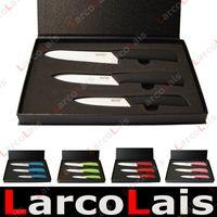 Wholesale 3pcs White Sanding Ceramic Knife Set Black Blue Pink Green Red Handle Gift Box
