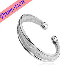 Wholesale Factory Promotion Sterling Silver Plated Bangle Coated Silver Mesh Bangle Cuff Bracelet