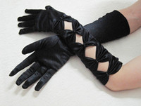 Wholesale Oprea sexy ladies stretch satin open gloves with Pearls clubwear Elbow length gloves black white