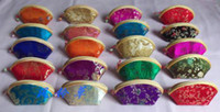 Wholesale Designer Coin Purses Ladies Small Zip Chinese Silk Fabric Shell Shaped mix color Free