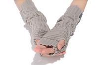 Wholesale Cheap Womens Winter Long Woolen Gloves Warm Elbow Length Gloves Grip Fashion Gloves