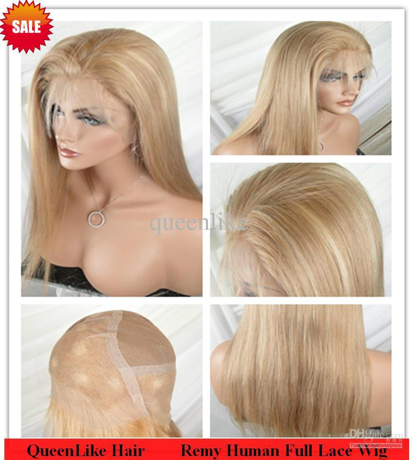 Indian Remy Human Hair Swiss Full lace Wigs Sexy 16 #27/613 Natural