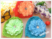 Wholesale 16pcs Baby Head Set Knit Hat Beanie Hair Flower Alligator Clip Fashion Gril Hair Accessory