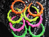 South American bamboo nightclub - Fluorescent colors MM Large exaggeration pairs Bamboo earrings Nightclubs HIPHOP JAZZ