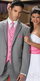 Wholesale New Arrival Hautt Men Gray Suit Groom Tuxedos Prom Clothing Jacket pants tie vest A