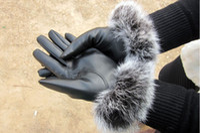 Wholesale woman PU leather gloves warm winter fashion Korean female soft Angora gloves leather gloves