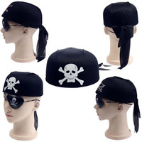 Wholesale Halloween Costumes Halloween Party Props Skeleton Pirate Hats with Eye Patch Scary Funny Party Hats