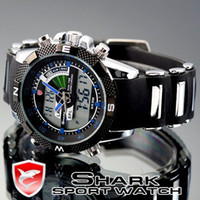 Wholesale MEN SPORT WATCH LCD DIGITAL QUARTZ CHRONOGRAPH DATE DAY ALARM BLUE NCN SHARK WATCHES SH044