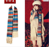 Wholesale Bohemian extra long knit scarf Women s winter long section of the scarf Blue retro scarf cm