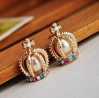 Wholesale Fashion Jewelry Gold Plated Pearl Rhinestone Cross Crown Ear Stud Earrings pairs