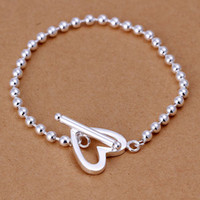 Wholesale H173 Wholesales Silver Personalized Heart Clasp mm Beads Bracelets Brand New High Quality