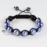 armband jewellery - shamballa bracelets Imitated pearls beads beaded ball macrame adjustable armband bracelets jewelry Shb041 handmad fashion jewellery