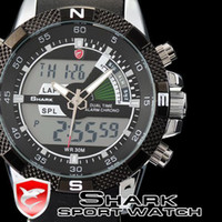 Wholesale Mens SHARK Watch LCD Digital Analog Dual Time Quartz Sport Rubber Band Wrist Watch SH042
