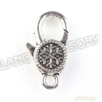 Wholesale 36pcs Snowflake Charms Lobster Clasp Vintage Silver Aceessory Findings Fit Jewelry Craft160927
