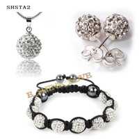 Wholesale 2012 Fashion mm AB Clay AAA crystal Ball White Jewelry Sets Wedding Jewelry SHSTAS2