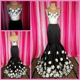 Wholesale Black Alluring sweetheart Mermaid Applique flowery sweep Zip Formal evening dresses