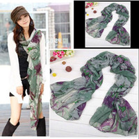 Wholesale Green Begonia Flower Ink Style Long Cotton Neck Scarf fashion woman s Scarves Shawl H6004 free ship
