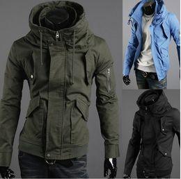 Wholesale Men s Coat Outerwear Jacket Men Slim The arm zipper design high collar Jacket Coat Outerwear
