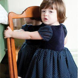 Kids Navy Dresses Cotton Printing Polka Dots Princess Dresses