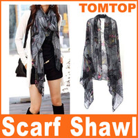 Wholesale Free Shippin Gray Begonia Flower Ink Style Long Cotton Neck Scarf fashion women Scarves Shawl H6004G