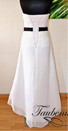 Wholesale 2013 custom made New Fashion white Sweetheart Hi Lo high low bow Chiffon In Stock Wedding Dresses