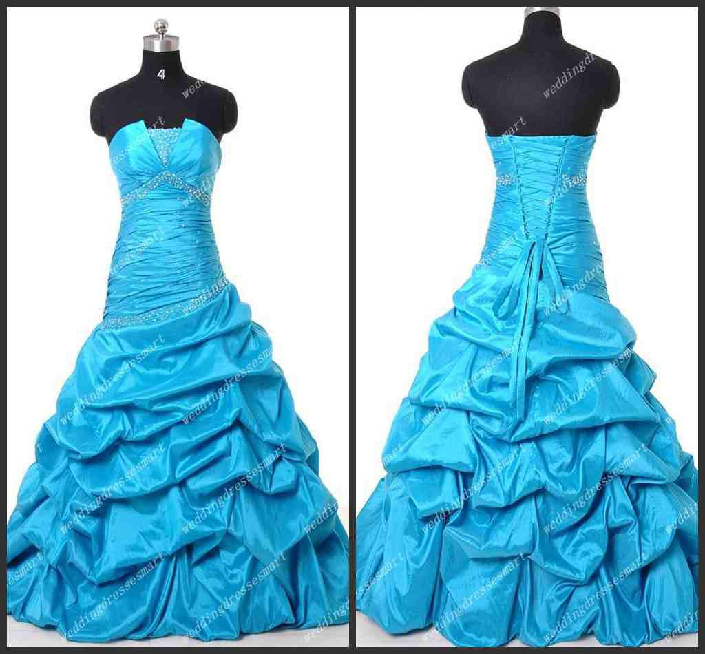 Custom Made Taffeta Strapless Pick Up Mermaid Teal Hot Sell Corset ...