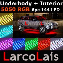 24 Mode Sound Active 6pc 144 LED 7 Color RGB 5050 Remote Car Interior Underbody LED Glow Strip Light