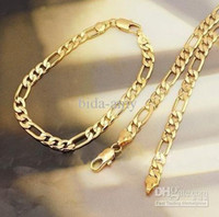 Wholesale Lowest Price Men s Jewellery k Yellow Gold Filled Necklace Bracelet Sets g GF Jewelry