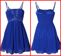 Real Sample Sheath Column Strapless Fold Sequin Beaded Blue ...
