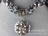 Wholesale Jewelry scarf alloy pendant chiffon scarf fashion Leopard necklace scarf