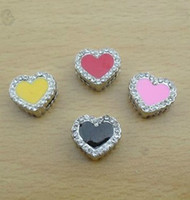 Collars slide charms - 100pcs mm Heart slide charms DIY accessories fit mm Collar Wristband Bracelet NO
