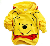 Wholesale 2012 Autumn cute Kids boys Clothes Bear Children yellow Hoodies Long sleeve Sweatshirts