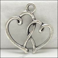 Wholesale Tibetan fashion Two LOVE Heart charm pendant Antique Silver alloy Fitting Fit DIY Making