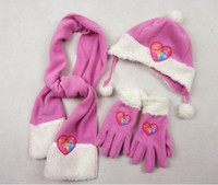 Wholesale kids girl sets hats scarf gloves pale purple white princess fleece scarf