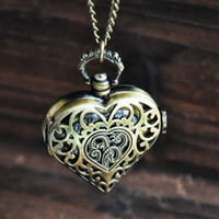 Wholesale Bronze Skeleton Antique Pocket Watches Vine Steampunk Heart Pendant Necklaces Timepieces quartz watches Hight Quality Christmas Gift