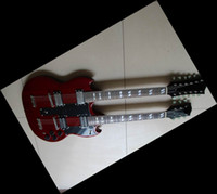 Wholesale Led Zeppeli Page Double Neck red body strings guitar