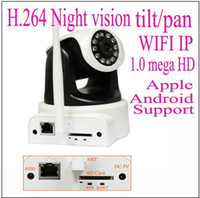 Wholesale 1 mega pixels HD wifi wireless ip network camera H with IR cut SD card slot Apple Android Windows mobile