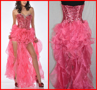 Real Sample Sexy Sweetheart Ball Gown Mini Hi- Lo Sequin Bead...