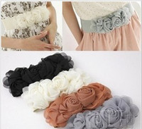 Wholesale Fashion lady chiffon double rose flowers stretch elastic wide girdle colors