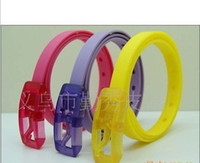 Wholesale Fashion women pin buckle belt personalized candy color belt acrylic packaging