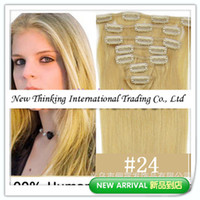 Wholesale 24 natural blonde inch g set Clip in human hair extension VIA CPMA
